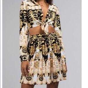 Versace-style Print Pleated Skirt